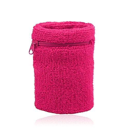 HOTER, Schweißband-Geldbeutel, dick, stabil, mit Reißverschluss, verschiedene Farben, Deeppink