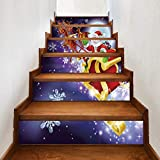 6 Stück/Satz Treppenaufkleber Weihnachten Verkleiden Sich Kreative Treppe Aufkleber Weihnachten Kutsche Persönlichkeit Pvc Wandaufkleber 18CM*100CM