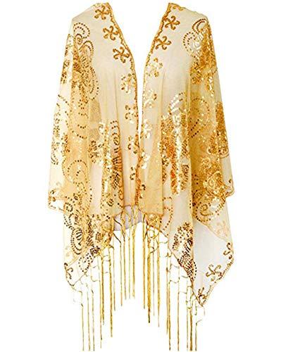 keland Frauen Shiny Mesh Pailletten Schal Hochzeit Mantel Fransen Abend Wraps Wraps Shrug Bluse Tops Shirts (Gold)
