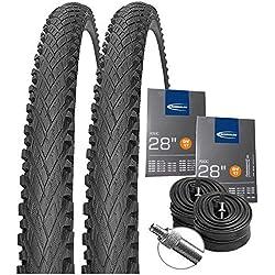 Impac Set: 2 x Crosspac Schwarz Fahrrad Reifen 40-622/700x38C + Schwalbe SCHLÄUCHE DV17 Blitzventil