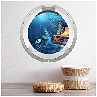 azutura Pirate Treasure Porthole Wall Sticker 3D Wall Decal Boys Bedroom Bathroom Decor available in 8 Sizes X-Large Digital