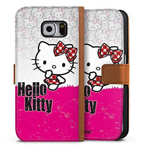 DeinDesign Tasche kompatibel mit Samsung Galaxy S6 Leder Flip Case Ledertasche Hello Kitty Merchandise Fanartikel Pink Punk