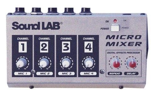 Soundlab 4Kanal Mono Mikrofon Mixer mit Effekten