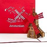 'Pop Up 3d tarjeta Molino de viento Amsterdam–3d tarjeta de felicitación de Amsterdam, viaje cupones Holland, Amsterdam Card Souvenir, Amsterdam tarjeta