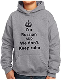Nutees I'm Russian And We Don't Keep Calm Funny Unisex Kids Hoodie Ages 3-15 Years