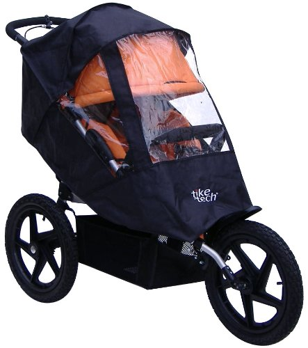 Tike Tech Single All Terrain X3 Sport All Season Stroller Cover, Black/Clear