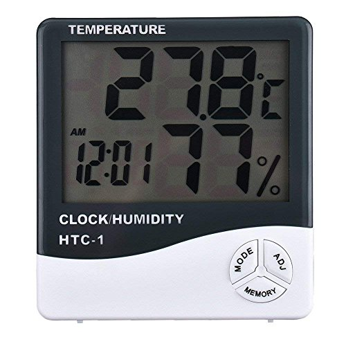 HP Deals Digital Hygrometer Thermometer Humidity Meter with Clock LCD Display HTC-1