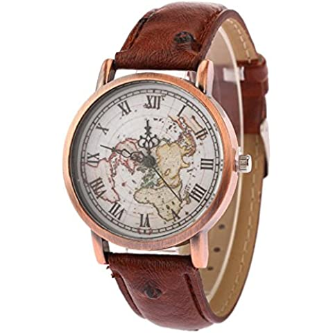 Mappa di moda in pelle cinturino orologio al quarzo , red