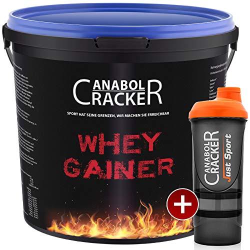 Whey Gainer Protein, 100% reiner Hardgainer, 3000g Eimer, Erdbeer Eiweißpulver + Shaker -