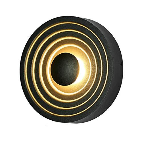 LANBOS 12W LED Lampada da Parete per interni,Applique da Parete con Stile Moderno, luce bianca calda 3000K,21X4.5CM,Perfetto per Soggiorno Corridoio Le Scale (Nero-3000K)