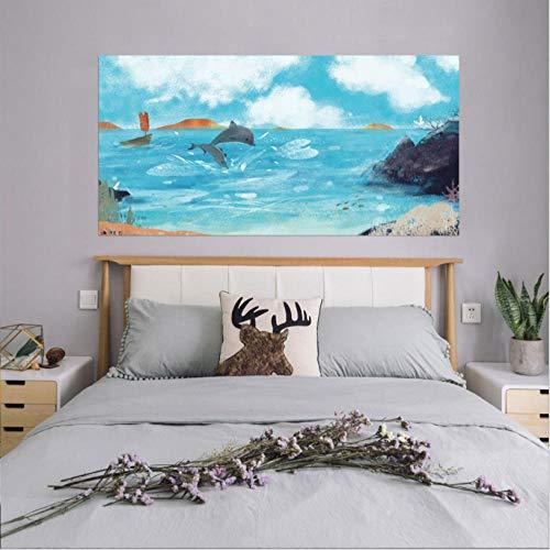 Azure Dolphin Bay 3D-Nachttisch-Aufkleber Für Heimtextilien Schlafzimmerdekoration Selbstklebende Tapeten Kunstwandgemälde -