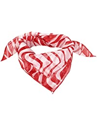 Women Christmas Gift Wave Prints Square Neck Scarf Neckerchief