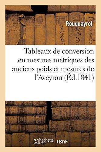 Tableaux de conversion en mesures métriques des anciens poids et mesures du département de l'Aveyron