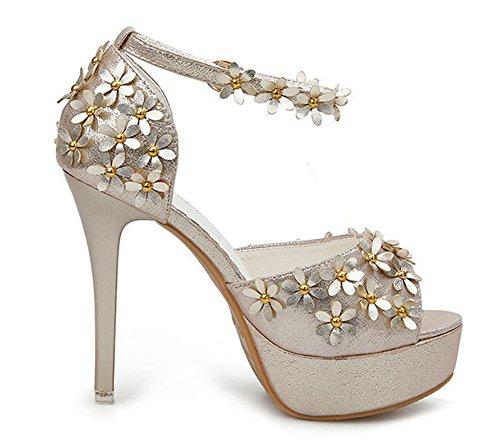 Aisun Damen Blumen Knöchelriemchen Plateau High Heels Sandaletten Gold
