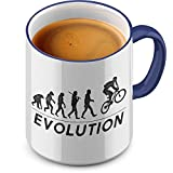 Funtasstic Tasse Evolution MTB - Kaffeepott Kaffeebecher 375 ml, Farbe:kobalt