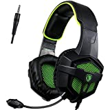 [Sades 2016 Multi-Platform New Xbox one PS4 Gaming Headset], SA-807 verde Gaming Headset cuffie Gaming per New Xbox one / PS4 / PC / Laptop / Mac / iPad / iPod (nero e verde)