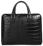 CLUTY Aktentasche echt Leder schwarz Damen A4-Ordner: ja (max 5 cm breit) Schultergurt abnehmbar, Innentasche(n), Schultergurt verstellbar, Handytasche, Schultergurt, Reißverschluss