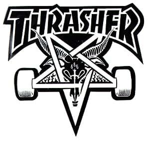 Thrasher Magazine Sticker Skate pentagramme de Chèvre Skateboard Noir/Blanc 9x 9x 10cm
