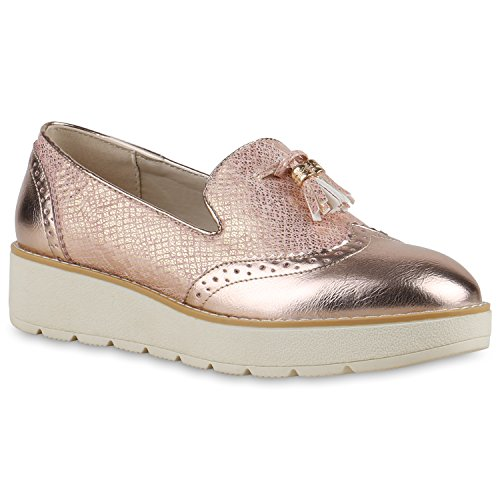 Damen Slipper Lack | Plateau Loafers | Metallic Schuhe Profilsohle | Loafer Flats Glitzer | Slippers Quasten Lochung Rosa Quasten
