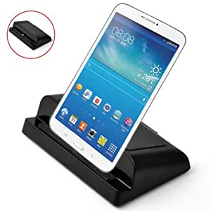 """E-PRANCE New 3 in 1 USB Powered Charging Dock for Samsung Galaxy TAB 3 7"""" 8"""" 10.1"""",Data Synchronize/Phone(tablet) charger/can be used as scaffold,Black"""