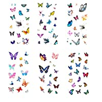Ototon Handbook Stickers Mermaid Plants Flowers Butterfly Pattern for Diary Album Scrapbook DIY Decorative Stickers 6 Sheets (A)