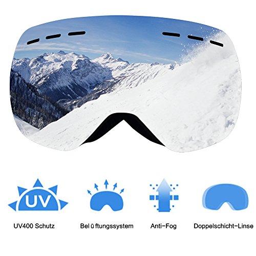 Skibrille,Gosccess Snowboard Brille Brillenträger Schneebrille Snowboardbrille Verspiegelt-Für Damen Herren Jungen Mädchen-Doppel Lens OTG UV-Schutz Anti Fog zum Skifahren, Snowboarden,Schneemobile (Silver)