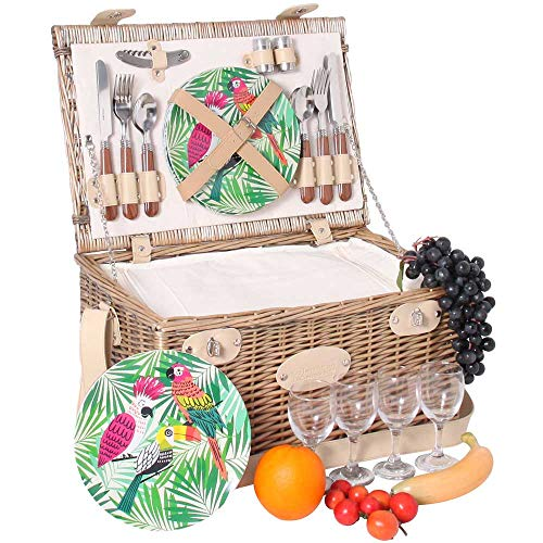 Les Jardins de la Comtesse - Picknickkorb Bel Air - komplett aus Weide - für 4 Personen - Mit Kühlfach, Tellern aus Melamin und Weingläsern - cremefarbener Stoff - 45 x 31 x 24 cm