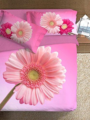 Ipersan Set Copripiumino Piazzato Fine Art Disegno Gerbera Fucsia/Rosa matrimoniale 255 x 200 cm
