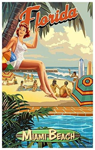Northwest Art Mall Miami Beach Florida am Pool Mädchen Travel Poster Kunstdruck von {Künstler. fullname} ({outputsize. shortdimensions}) Antik 12x18 inch