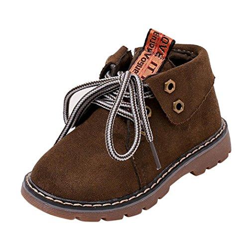 CLOOM winter Kleinkind Schuhe Vintage Jungen Mädchen Martin Stiefel Baby Klassischer Sneaker Schnürhalbschuhe Kurz Stiefeletten Schlupfstiefel Warm Schnee Stiefel Casual Outdoor Stiefel (28, Grün)