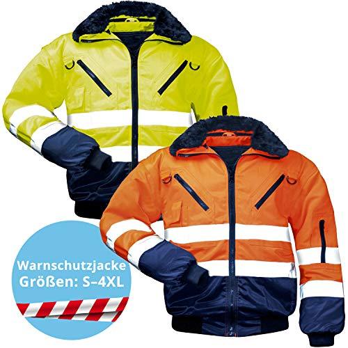 Panorama24 Warnschutz-Pilotenjacke, Arbeitsjacke - gelb/marine - Größe: M - EN 471 Klasse 3-4 in 1 Funktion - reflektierend, 4 in 1, wasserdicht, Sicherheit Hi-Vis