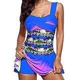 VECDY Bikini Damen Set Sexy Badeanzug Badebekleidung Schwimmen Gepolsterter Tankini Swimdress Badeanzug Beachwear in Übergröße Unterwäsche (T-Y-Blau, 2XL)