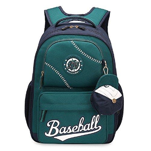 Bysn Baseball Schule Rucksäcke für Jungen Mädchen Bookbag mit kleinen Mütze ändern Geldbörse (Kleines Mädchen Bookbags)