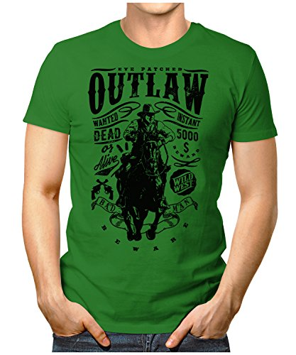 PRILANO Herren Fun T-Shirt - OUTLAW-WANTED - Small bis 5XL - NEU Grün