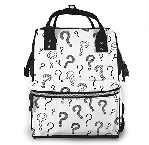 UUwant Mama Windel Rucksack Diaper Bag,Versatile Stylish and Durable, Suitable for Mom and Dad,Question Mark Pattern Background