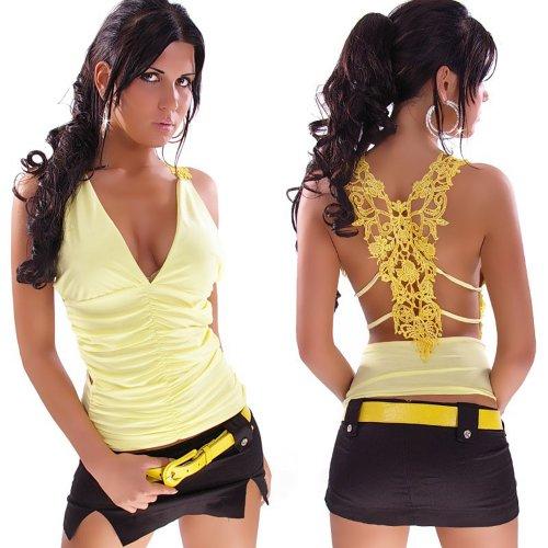 Top Shirt mit Stickerei und V-Ausschnitt Einheitsgröße 34, 36, 38 verschiedene Farben Gelb