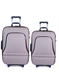 Exclusive Fashion Luggage Poleyster Light Brown Softsided Suitcase Set Of 2 (20x14x7 And 24x16x8)