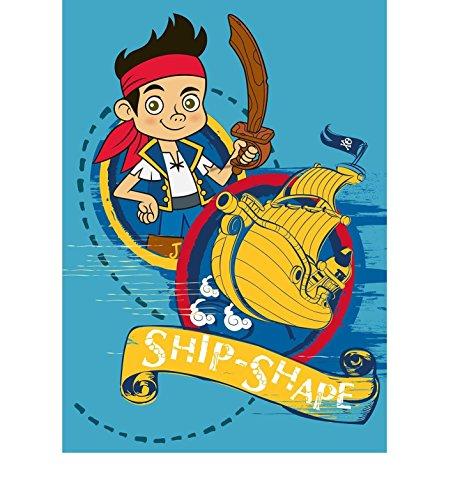 Niños–Alfombra infantil con diseño de Jake y los Piratas de Nunca/Jake con barco pirata/Tamaño aprox. 95x 133cm