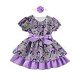 Covermason Baby Mädchen Prinzessin Kleid Blumenmädchenkleid Taufkleid Festlich Kleid Hochzeit Partykleid Festzug Babybekleidung + Haarband Set