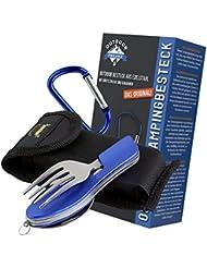 OUTDOOR FREAKZ Cubiertos para cámping plegable - Vajilla de exteriores de acero inoxidable con bolsa de neopreno (blue +)