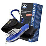 OUTDOOR FREAKZ Outdoor cutlery and camping cutlery foldable made of stainless steel (blue)