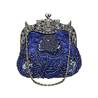 ANDAY Women's Vintage Flower Beaded Sequins Cameo Chain Handbag Clutch Dark Blue