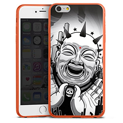 DeinDesign Apple iPhone 6 Plus Slim Case transparent neon orange Silikon Hülle Schutzhülle Buddha Schwarz Weiss Black White