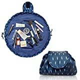 Lazy Drawstring Make up Bag Portable Large Travel Cosmetic Bag Pouch Travel Makeup Pouch Storage Organiser for Women Girl (Feather)