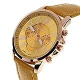 UNNSEAN Uhr,Frauen Genf römischen Ziffern Kunstleder Analoge Quarzuhr Multifunktional Chronograph Lederarmband Armbanduhr Einfach Elegant Frauen Uhren (Gelb)