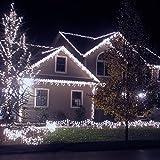 VegaHome 240er LED Eisregen Lichterkette Weihnachten Außen Lichtervorhang Eiszapfen Lichter Grüne Kabel Innen Deko für Xmas Garten Party Hochzeit Strombetrieben mit Stecker, Kaltweiß[Energieklasse A+]