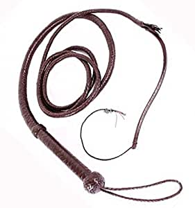 Hunter Dark Brown Whip Beautiful Real Cowhide Leather INDIANA JONES Bullswhip Bull Whip by Trendy Leather