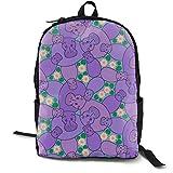 Hippo Pond - Purple Adult Premium Travel Backpack, Water-Resistant College School Bookbag, Sport Daypack, Outdoor Rucksack, Laptop Bag for Men&Women