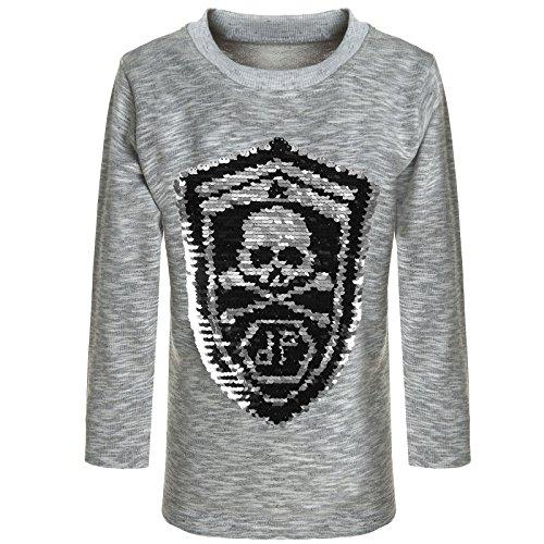 BEZLIT Jungen Sweatshirt Pullover Wende Pailletten Tiger 21499, Farbe:Grau, Größe:128 (Kinder Jacken Tiger)