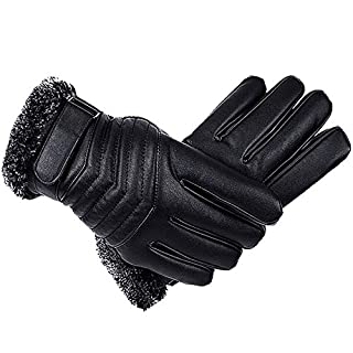 Gloves Leather Male Winter Keep Warm Riding Motorcycle Keep Warm Cold Protection Student Velvet Thicken GAOFENG (Color : A-arrow)